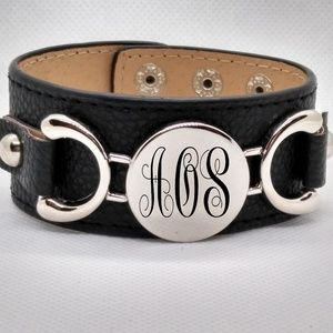 Anicelook Jewelry - Custom Leather Cuff Bracelet with Monogram charm